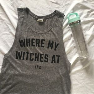 VS Pink Gym Muscle Tee Where My Witches At